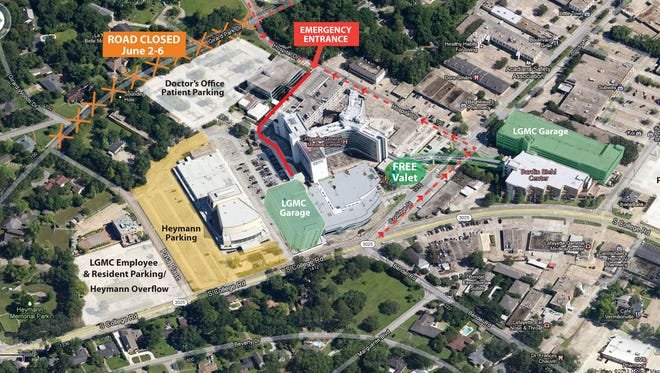 This map shows access routes to Lafayette General during road work.