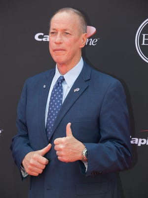 Pro Football Hall of Famer Jim Kelly arrives for the 2018 ESPYS.
