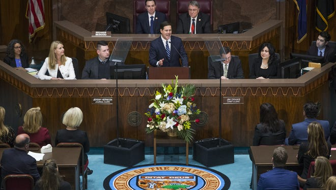 Gov. Doug Ducey delivers his State of the State address in the House of Representatives at the Capitol in Phoenix on Jan. 8, 2018.