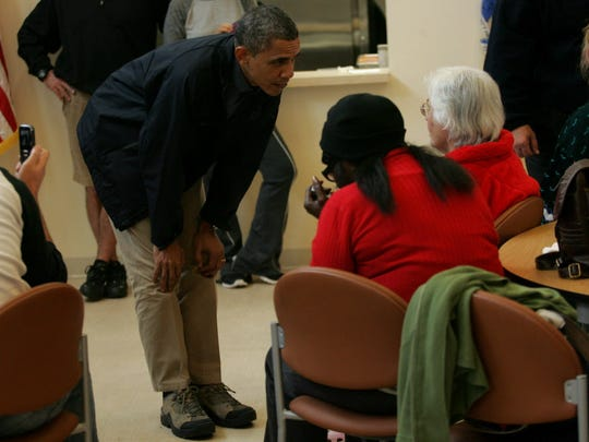 President Obama met with people who evacuated their homes and are currently in the Brigantine Community Center in Atlantic County on Wednesday, Oct. 31, 2012.
