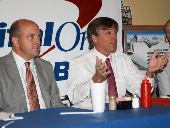 Representatives of Capital One Bank hold a press conference and luncheon Thursday at Melvyn's Restaurant highlighting the upcoming jamborees.