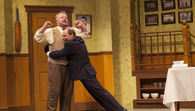 """Ron May (left, with Robert Kolby Harper) was nominated for an ariZoni Award as best actor in the Phoenix Theatre comedy """"One Man, Two Guvnors,"""" which earned a nod as best overall production of a play."""