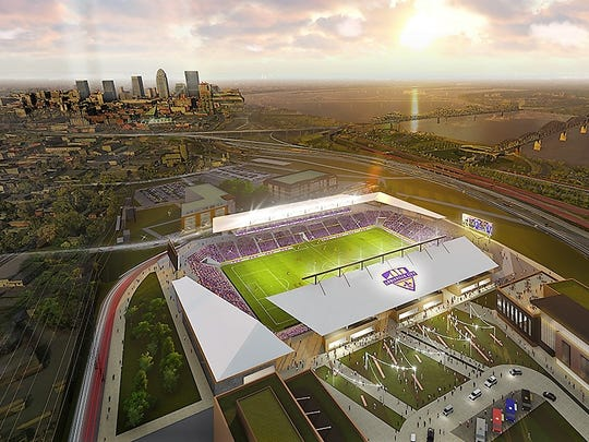 Rendering of the proposed 10,000-seat soccer stadium to be built in Louisville for its United Soccer League team. The stadium is expected to cost about $40 million to build, according to the Louisville Courier-Journal newspaper.