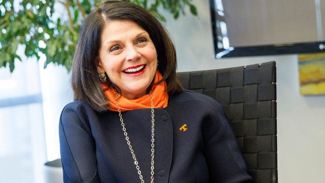 Incoming University of Tennessee Chancellor Beverly Davenport speaks to reporters Dec. 15, 2016, after the Board of Trustees unanimously voted to approve her appointment to head the state's flagship public university.