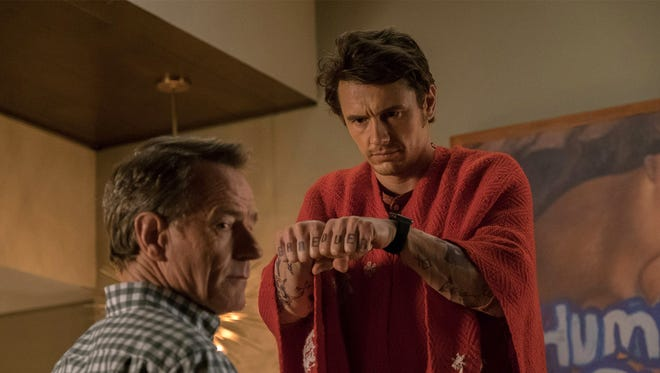 """Bryan Cranston and James Franco in the film """"Why Him?"""" (20th Century Fox) The movie is playing at Regal West Manchester Stadium 13, Frank Theatres Queensgate Stadium 13 and R/C Hanover Movies."""