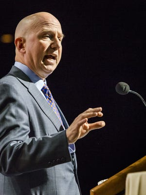 Delaware Gov. Jack Markell speaks during the Delaware State Chamber of Commerce annual dinner at the Chase Center on the Riverfront in Wilmington on Jan. 15. Fund projections for the state budget were updated Monday.