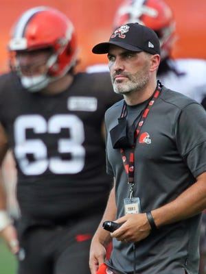 Browns coach Kevin Stefanski watches from the sideline during practice last month.