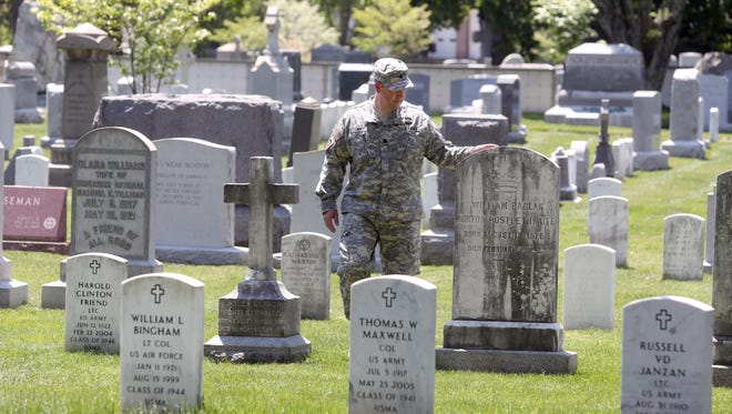 Lt. Col. David Siry, who teaches history at the United States Military Academy at West Point, walks through the West Point Cemetery May 18, 2017. Among the notable figures in Unites Stated military history buried at the cemetery are General George Custer, Major General John Buford, who played a major role in the Battle of Gettysburg during the Civil War, H. Norman Schwarzkopf, Jr., commander of coalition forces in the Gulf War, and General William Westmoreland, who commanded the U.S. forces during the Vietnam War from 1964 to 1968.