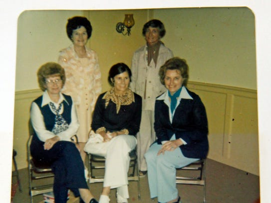 This photo from a Hales Corners Woman's Club scrapbook shows a few of the many members in the mid-1970s. In the back row on the left is Catherine Hafemeister, now 95 and the club's longest member. She joined in 1957, one year after the club was formed.