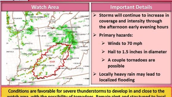 A tornado watch has been issued for Northern Kentucky and southern Ohio