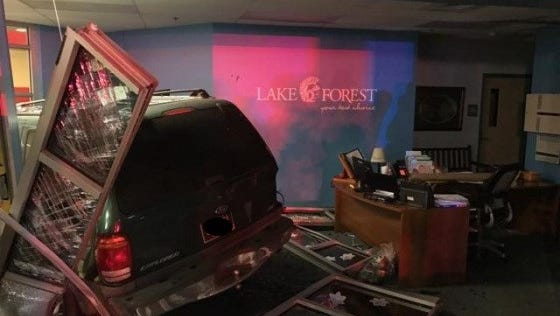 A 56-year-old male, who was properly restrained, crashed his motor vehcile into the front office area of Lake Forest Central Elementary School Wednesday night, police said.