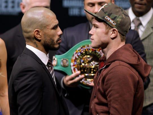 Miguel Cotto, left, fights Canelo Alvarez on Saturday in Las Vegas.