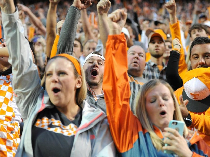Fans cheer after Tennessee quarterback Joshua Dobbs scores the game-winning touchdown over Georgia on Oct. 10, 2015, at Neyland Stadium.