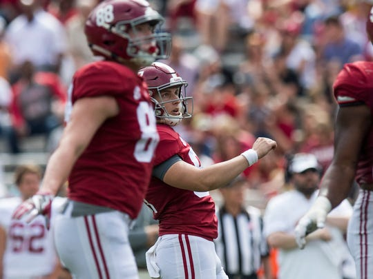 Alabama kicker Joseph Bulovas (97) watches a kick during the A-Day Game at Bryant-Denny Stadium on the University of Alabama campus in Tuscaloosa, Ala. on Saturday April 21, 2018.