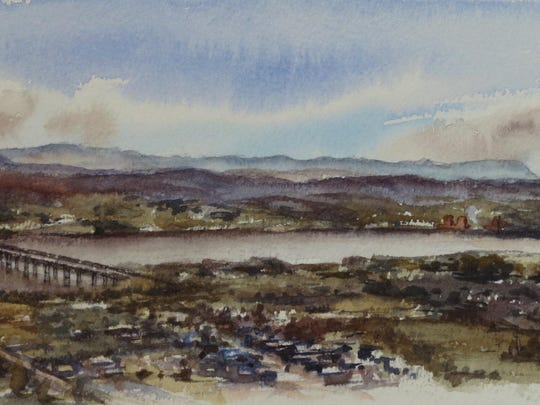 """""""View from Mt. Beacon,"""" a watercolor by Amanda Epstein, is part of the winter holiday art exhibit at Bannerman Island Gallery, Beacon, through Jan. 29."""