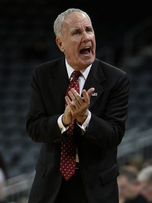 Bellarmine head coach Scott Davenport guides his team during a second of play against Florida Southern in the 2015 NCAA Division II Semifinal #2 at the Ford Center in Evansville, In. March 26, 2015.