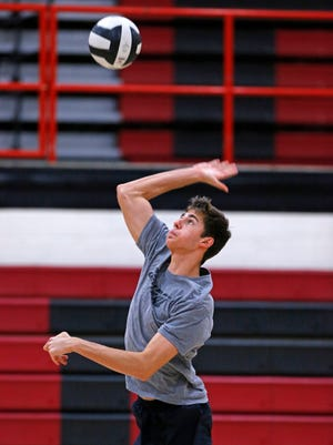 Brophy Prep boys volleyball player Andrew Lincoln during practice Tuesday, Feb. 24, 2015 in Phoenix,  Ariz.