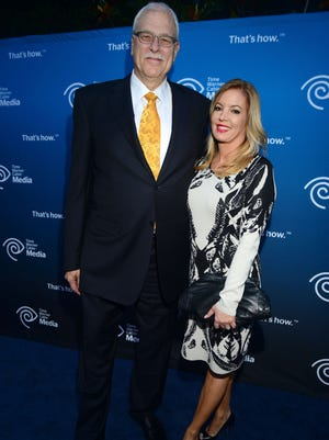 """Retired head coach Phil Jackson and Jeanie Buss attend Time Warner Cable (TWC Media) """"View From The Top' Upfront honoring LA Lakers' Dr. Jerry Buss at Vibiana on June 19, 2013 in Los Angeles, California.  McKennie/WireImage) ORG XMIT: 170744898 ORIG FILE ID: 170901847"""