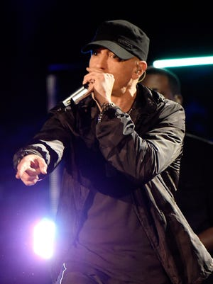 """Eminem performs onstage during """"The Concert For Valor"""" at The National Mall on November 11, 2014 in Washington, DC."""