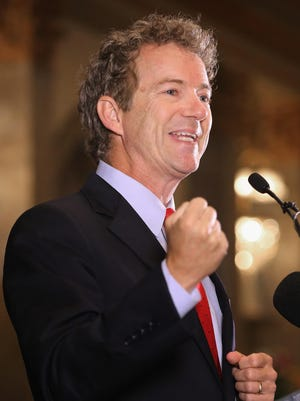 Republican presidential candidate Rand Paul addresses the Baltimore county Republican Party's annual Lincoln/Reagan Dinner at Martin's West June 9, 2015, in Baltimore.