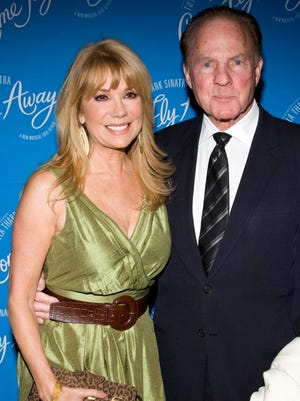 In this March 25, 2010 file photo, Kathie Lee Gifford and Frank Gifford arrive at the opening night performance of the Broadway musical 'Come Fly Away' in New York.  In a statement released by NBC News on Sunday, Aug. 9, 2015, his family said Gifford died suddenly at his Connecticut home of natural causes that morning.