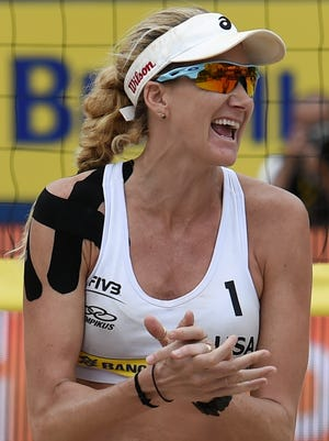 Beach volleyball gold medalist Kerri Walsh is a big believer in kinesiology tape.