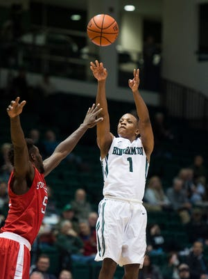 Binghamton University guard Marlon Beck puts up a shot during the Bearcat's 62-52 loss to Stony Brook at home on Wednesday, Jan. 6, 2016.