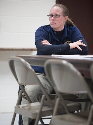 Port Edwards Police Chief Jennifer Iverson is shown during a meeting of the Protective Services Committee at Edwards Alexander Shelter in Port Edwards on March 1, 2016.