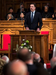 FBI Director James Comey speaks during the second day