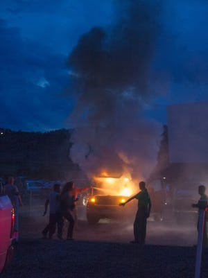 A pickup burst into flame on July 2, 2016, as patrons waited for a screening of Tarzan to begin.