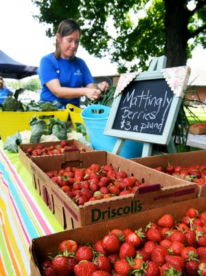 Amy Cates arranges fresh vegetables and fruit she is selling at the Downtown Farm & Art Market.