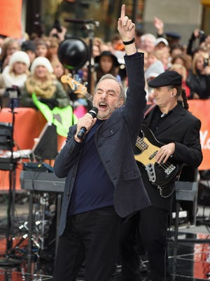 """Neil Diamond performs on NBC's """"Today"""" at Rockefeller Plaza on Oct. 20, 2014, in New York City. Diamond brings his world tour to Des Moines in May."""