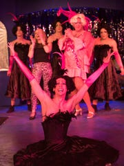 """Starring in """"La Cage Aux Folles"""" at City Theater Company are, on the floor, Zach DeBevac, and, from left, standing, Christian Ryan, Kerry Kristine McElrone, William Bryant, Patrick O'Hara and Andrew Dean Laino."""