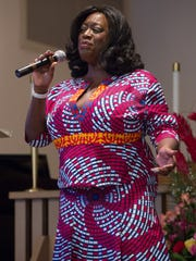 Singer Keisha D performs at the Martin Luther King, Jr. commemoration celebration at The Church of St. Paul in Palm Springs, Sunday, Jan. 15, 2017.