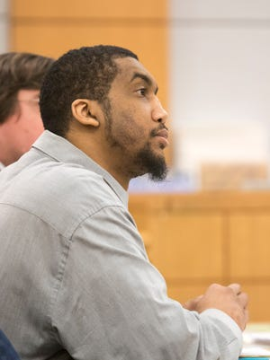 Taikwan Crosby at his trial in January for the murder of James Faucett. Crosby was sentenced to life in prison on Friday.