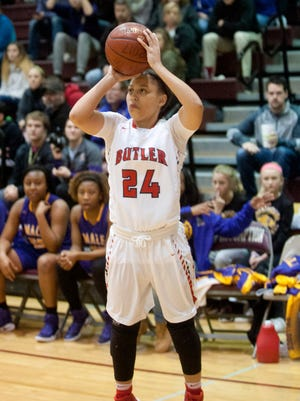 Butler guard Teri Goodlett puts up a 3-point shot in the Girls' LIT championship. She had the team's second-hightest score with 21 points.28 January 2017