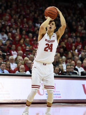 Bronson Koenig of the Wisconsin Badgers takes a shot against the Indiana Hoosiers on Feb. 5, 2017, in Madison, Wis.