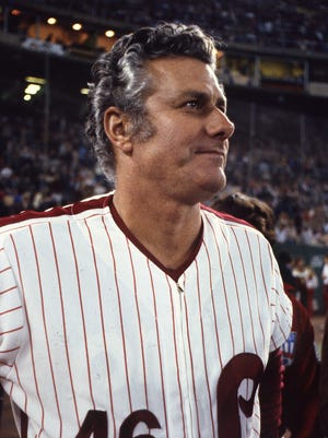 Dallas Green looks out at the crowd before the final game of the World Series Oct. 21, 1980.