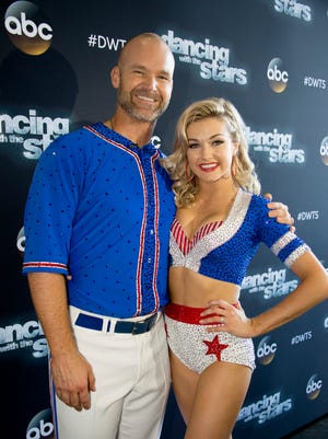 "Lindsay Arnold and David Ross on Part I of the finale of ""Dancing With the Stars."""