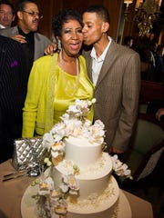 Aretha Franklin is joined by her son Kecalf Franklin on March 2014 in New York.