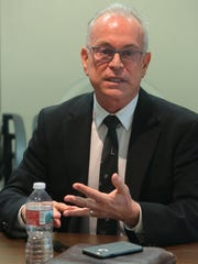 Robert Stone responds to a question at The Desert Sun editorial board's panel interview of Palm Springs City Council candidates, September 26, 2017.