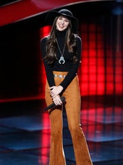 Kristi Hoopes, a Colorado native attending MTSU, listens to feedback from judges on NBC's 'The Voice.'