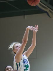 Halee Nieman (32) sets a new school record for most points in a game with this shot during the Montevallo vs UWF women's basketball game at the University of West Florida in Pensacola on Monday, December 18, 2017.