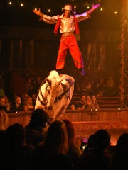 Flying high on horseback. Cirque Ma'Ceo, a family-friendly show featuring acrobatic horse riding, fire dancing, gymnastics and humor, played Thursday through Sunday afternoon at the Collier County Fairgrounds.