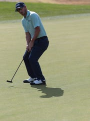 Andrew Landry reacts after missing a putt at the Career