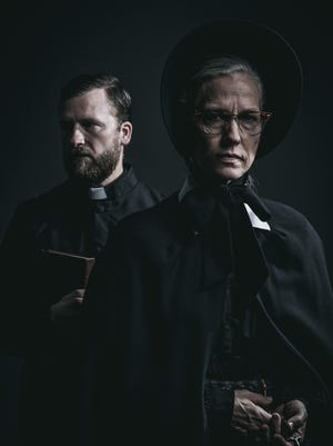 """Marguerite Lowell as Sister Aloysius and Brent Maddox as Father Flynn in Studio Tenn's production of """"Doubt."""""""