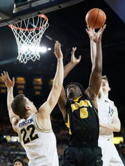 Feb 14, 2018; Ann Arbor, MI, USA; Iowa Hawkeyes forward