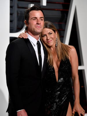 Justin Theroux and Jennifer Aniston were married in 2015. This is a photo of the pair from the 2017 Vanity Fair Oscar Party.