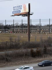 "Billboard along I-275 in Livonia says to ""SKIP CHURCH THIS EASTER"" as an April Fools Day joke with Easter falling on April 1. The website SkipEaster.com directs folks to the website of Ward Church in Northville."