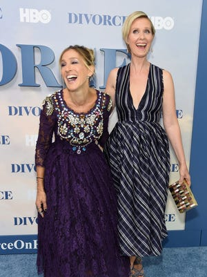 Sarah Jessica Parker, left, Thursday endorsed the New York gubernatorial bid of 'Sex and the City' co-star Cynthia Nixon. The two appeared together at the 2016 premiere of Parker's HBO series, 'Divorce.'